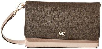 MICHAEL Michael Kors Mott Phone Crossbody (Brown/Soft Pink) Handbags