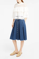 Sea Denim A-Line Midi Skirt