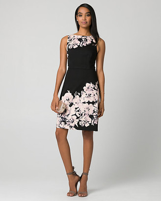 Le Château Floral Print Cotton Sateen Boat Neck Dress