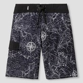 No Fear Boys' World Map and Compass Boardshort Black