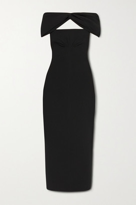 Emilia Wickstead Padma Off-the-shoulder Cutout Crepe Midi Dress - Black
