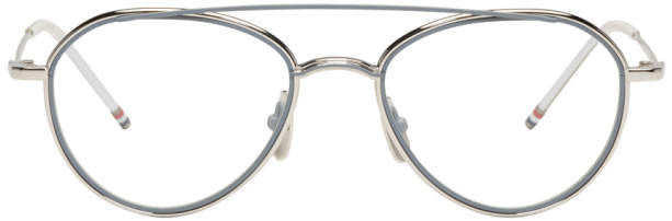 Thom Browne Silver TB 109 Aviator Glasses