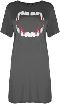Fashion Star Womens Ladies Halloween Bleeding Vampire Tooth Baggy Tunic Long Tshirt Dress Top Charcoal