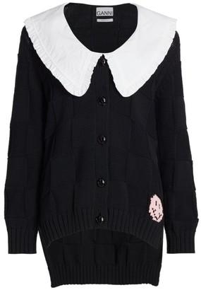 Ganni Ruffle-Collar Knit Cardigan