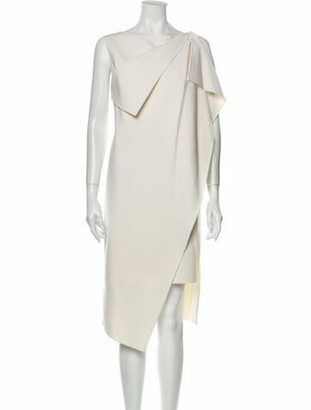 Oscar de la Renta Virgin Wool Midi Length Dress Wool