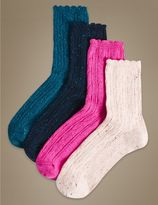 Marks and Spencer 4 Pair Pack Cotton Rich Ankle High Socks