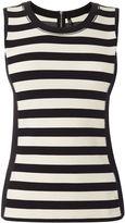 Karen Millen Striped Sleeveless Vest - Black & Ivory