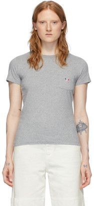 MAISON KITSUNÉ Grey Tricolor Fox T-Shirt