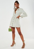 Missguided Mint Poplin Tie Cuff Shirt Dress