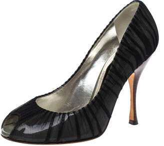 Dolce & Gabbana Black Mesh Fabric And PVC Peep Toe Pumps Size 37.5