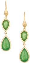 Rivka Friedman 18K Gold Clad Green Quartzite Double Teardrop Petite Dangle Earrings