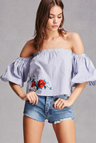 Forever 21 FOREVER 21+ Embroidered Puff-Sleeve Top