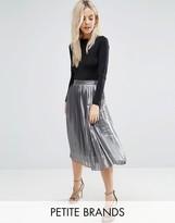 Boohoo Petite Metallic Pleated Skirt