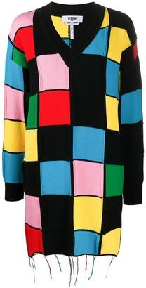 MSGM V-Neck Patchwork Sweater