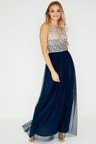Little Mistress Luxury Elisa Hand-Embellished Pearl Top Maxi Dress