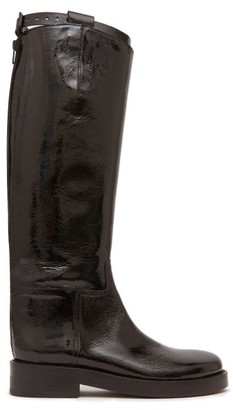 Ann Demeulemeester Buckled-strap Patent-leather Riding Boots - Womens - Black