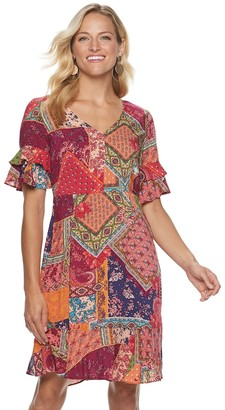 Sharagano Women's Patchwork Print Fit & Flare Dress