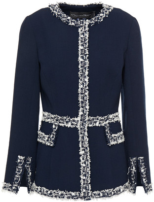 Oscar de la Renta Frayed Tweed And Wool-blend Crepe Jacket
