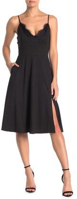 Socialite Brushed Knit Lace Trim Fit & Flare Dress