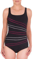Roots One-Piece Tech Swimsuit with Diagonal Piping