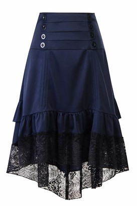 Zilcremo Women Steampunk Gothic Vintage Victorian Gypsy Hippie Lace Party Skirt Navy M