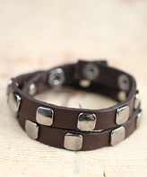 Nautilus Silvertone & Brown Square Station Leather Wrap Bracelet
