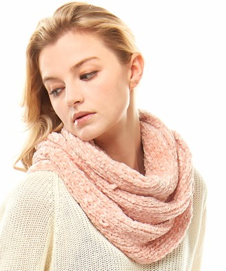 MIRMARU Women's Soft Warm Chenille Infinity Scarf Chunky Outdoor Loop Circle Neck Warmer - pink - One Size