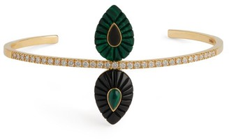 L'ATELIER NAWBAR Yellow Gold, Diamond, Malachite and Onyx Bond Bangle