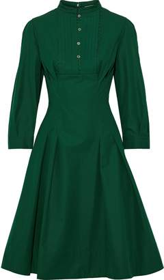 Oscar de la Renta Pleated Cotton-poplin Dress