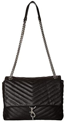 Rebecca Minkoff Edie Flap Shoulder Bag (Black 1) Handbags