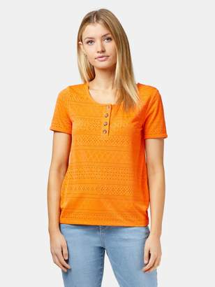 Jeanswest Lacey Lace Button Front Tee