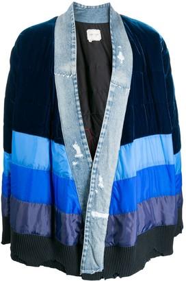 Greg Lauren striped long-sleeve cardigan