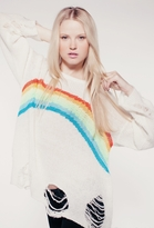 Wildfox Couture Rainbow Dreamer Lennon Sweater in Eggshell