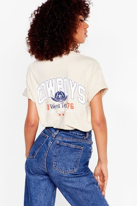 Nasty Gal Womens Well Howdy Cowboys Graphic Tee - Beige - S