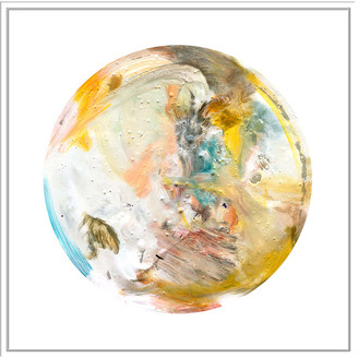 Jonathan Bass Studio Painterly Circle On White D, Decorative Framed Hand Embellished Canvas