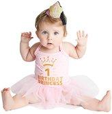 Kirei Sui Baby Sparkle 1st Birthday Princess Tutu Bodysuit Headband