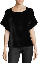 AG Adriano Goldschmied Clara Scoop-Neck Flutter-Sleeve Velvet Top