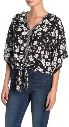 Max Studio Floral Tie Front Kimono Sleeve Top (Petite)