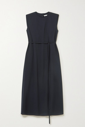 LE 17 SEPTEMBRE Belted Crepe Midi Dress - Navy
