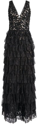 Alice + Olivia Devora Tiered Lace Gown