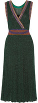 Missoni Convertible Wrap-effect Pleated Metallic Crochet-knit Midi Dress - Emerald