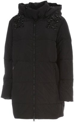 Twin-Set Long Padded Jacket W/hood And Paillettes