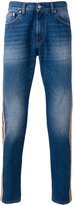 MSGM stripe panel straight jeans - men - Cotton/Polyester - 44