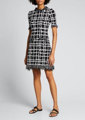 Oscar de la Renta Plaid-Print Knit Fringe Dress