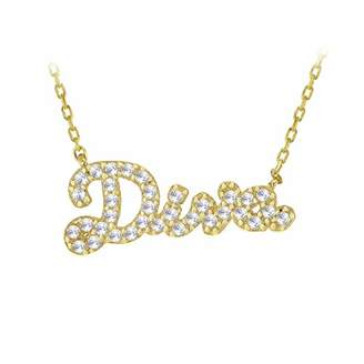 Tuscany Silver Women's Sterling Silver Yellow Gold Plated Diva Cubic Zirconia Message Necklace of Length 46 cm/18 Inch