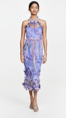 Marchesa Sleeveless Tulle Halter Dress