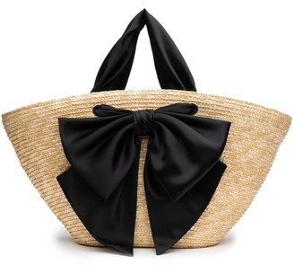 Eugenia Kim Carlotta Bow Straw Beach Tote Bag