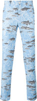Comme des Garcons fish print tapered trousers - men - Linen/Flax - S
