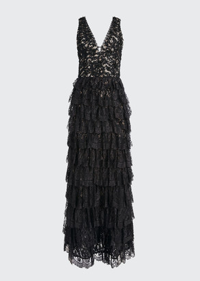Alice + Olivia Devora Embellished Lace Tiered Gown