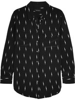 Kate Moss for Equipment - Slim Signature Printed Washed-silk Shirt - Black